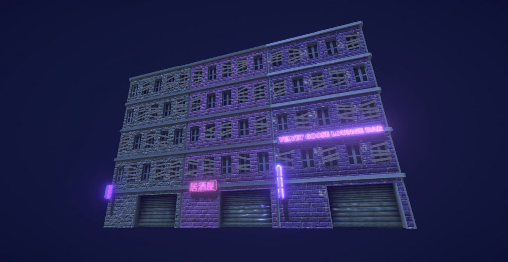 Some buildings I modelled and textured for a university game jam.