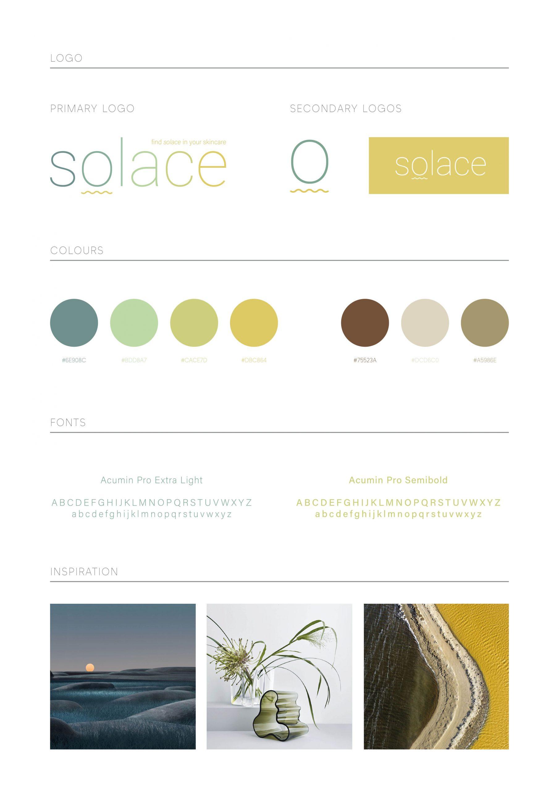 Solace Skincare Brand Board