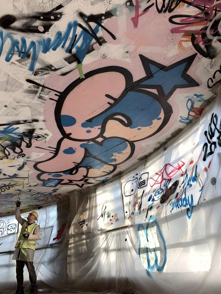 Ceiling graffiti for SLG Brands Boardroom