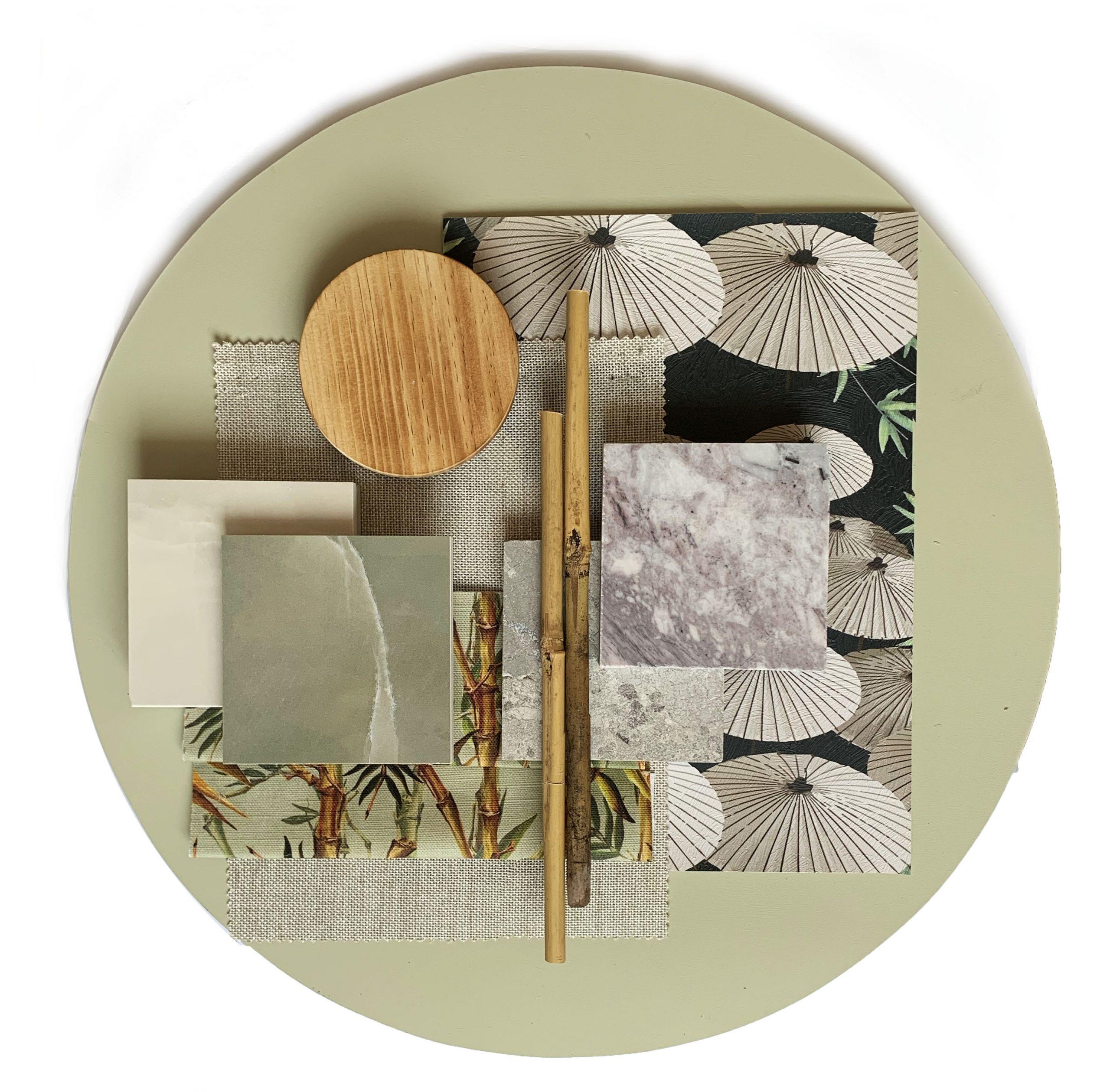 KUKU Japanese Restaurant, materials board