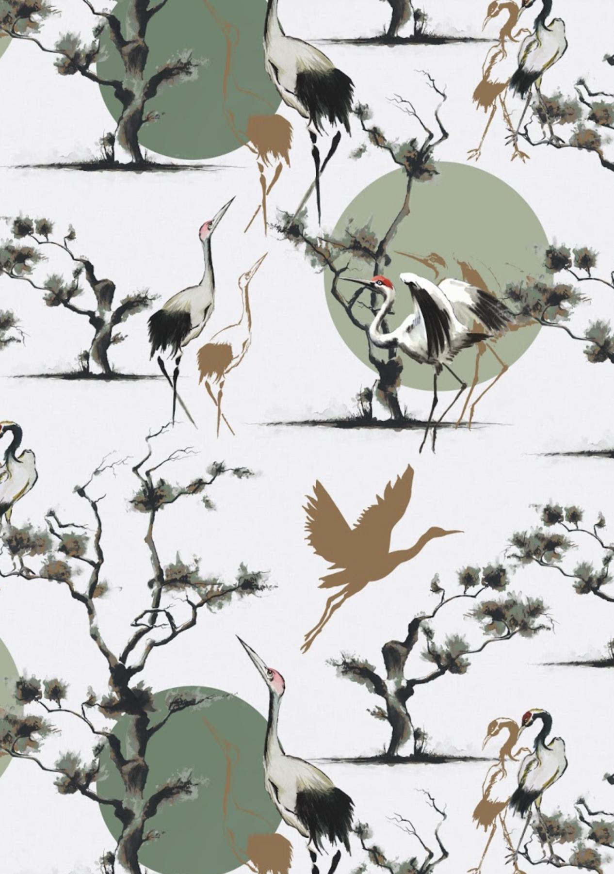 The KUKU Collection, 'Dancing Tancho' surface pattern in ecru