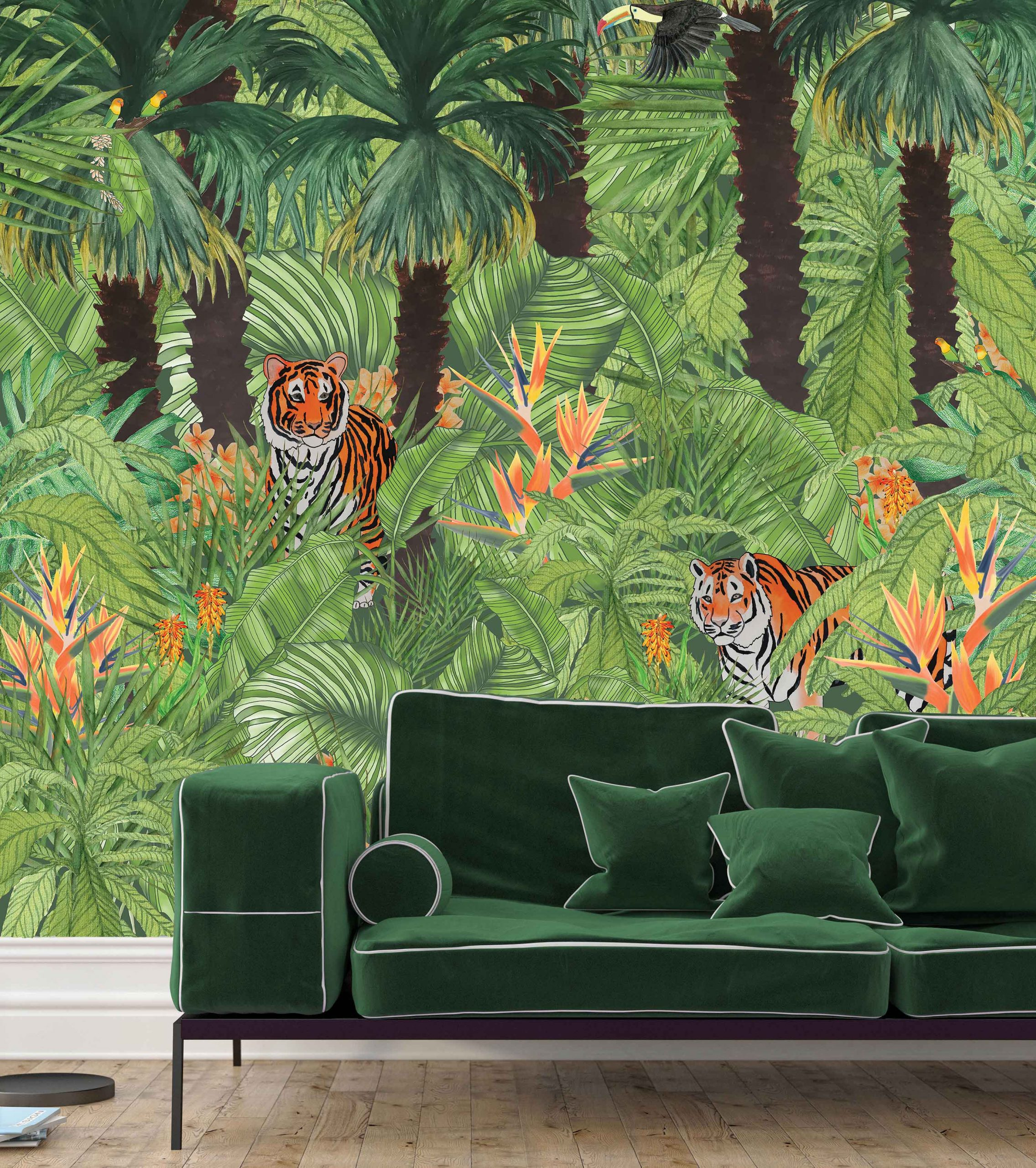 Tigers On The Lookout wall mural