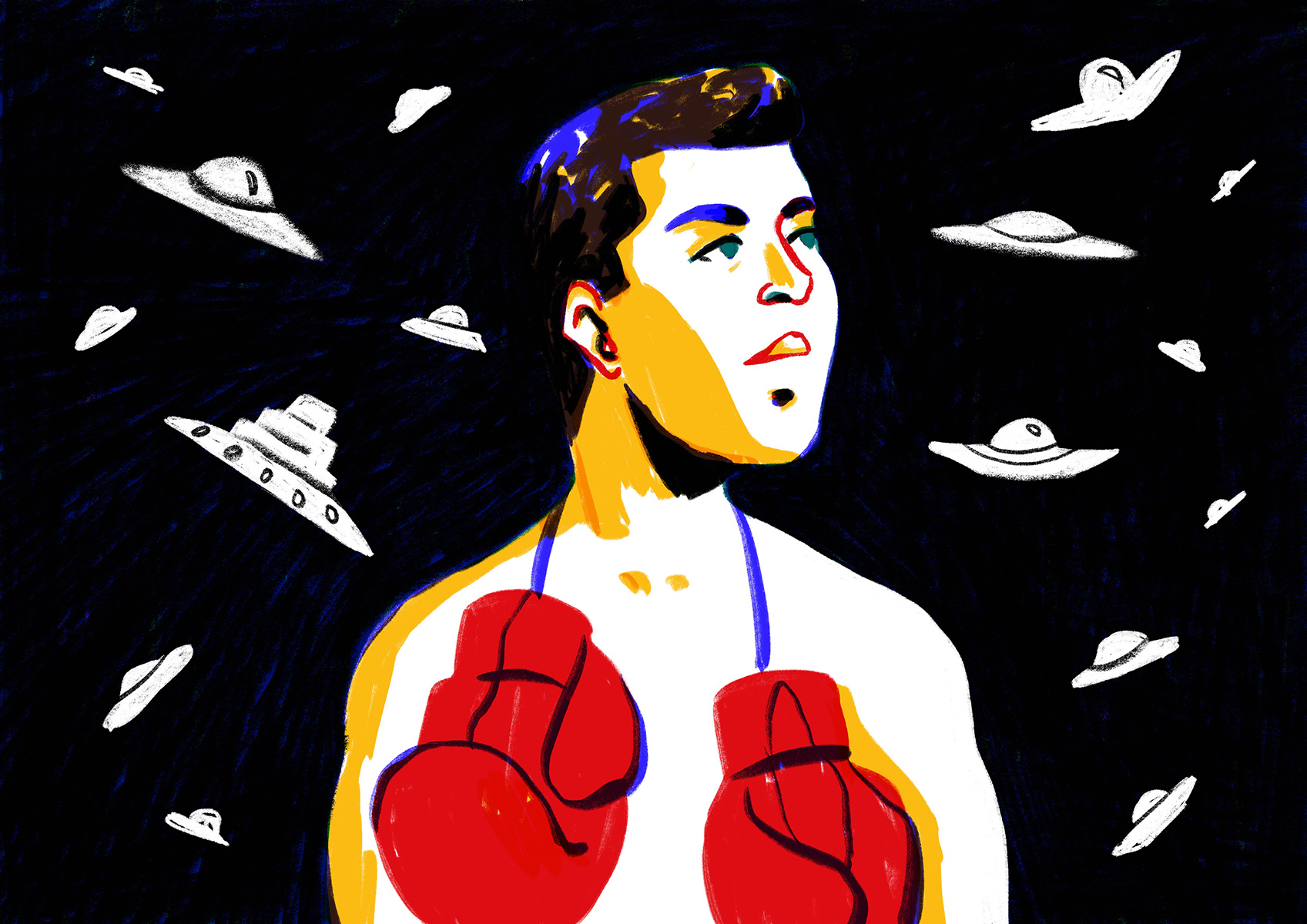 Boxing Champion Muhammad Ali Had a Fascination with UFOs — Editorial illustration