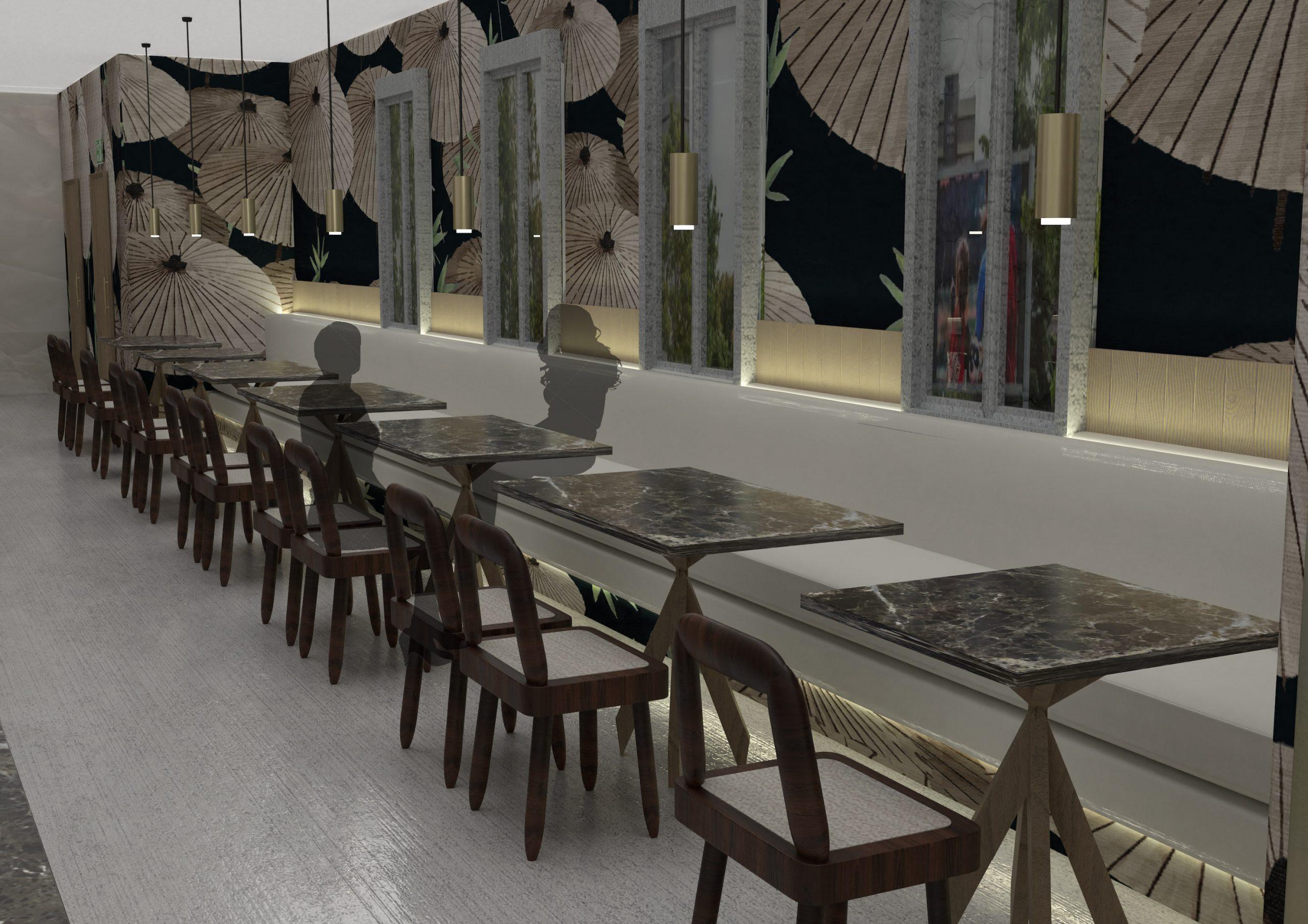 KUKU Japanese Restaurant, banquette seating