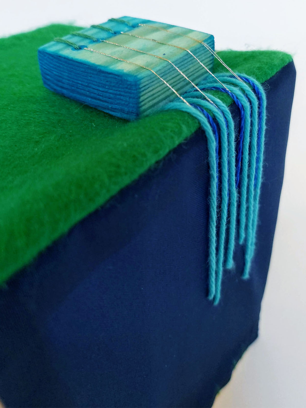 Circuitry Stitch in blue and green