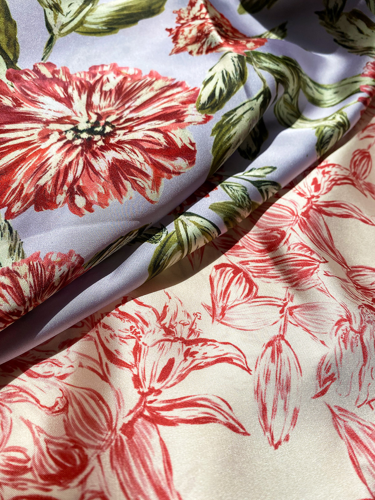 Red Peonies & Lily Luxe Fabrics