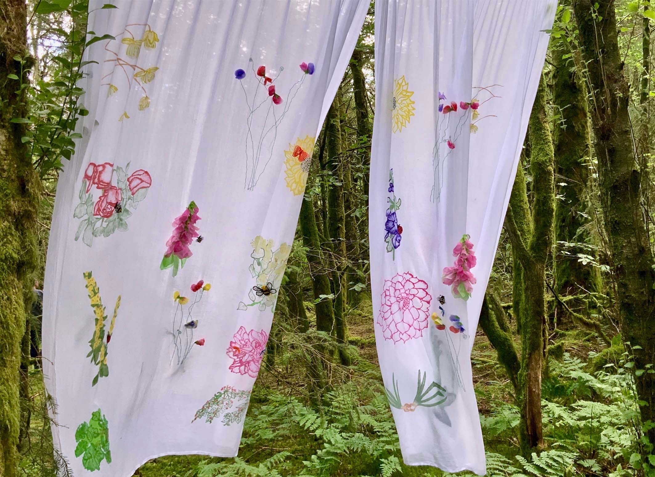 Whimsical Cottage Garden Drapes photographed in a natural environment