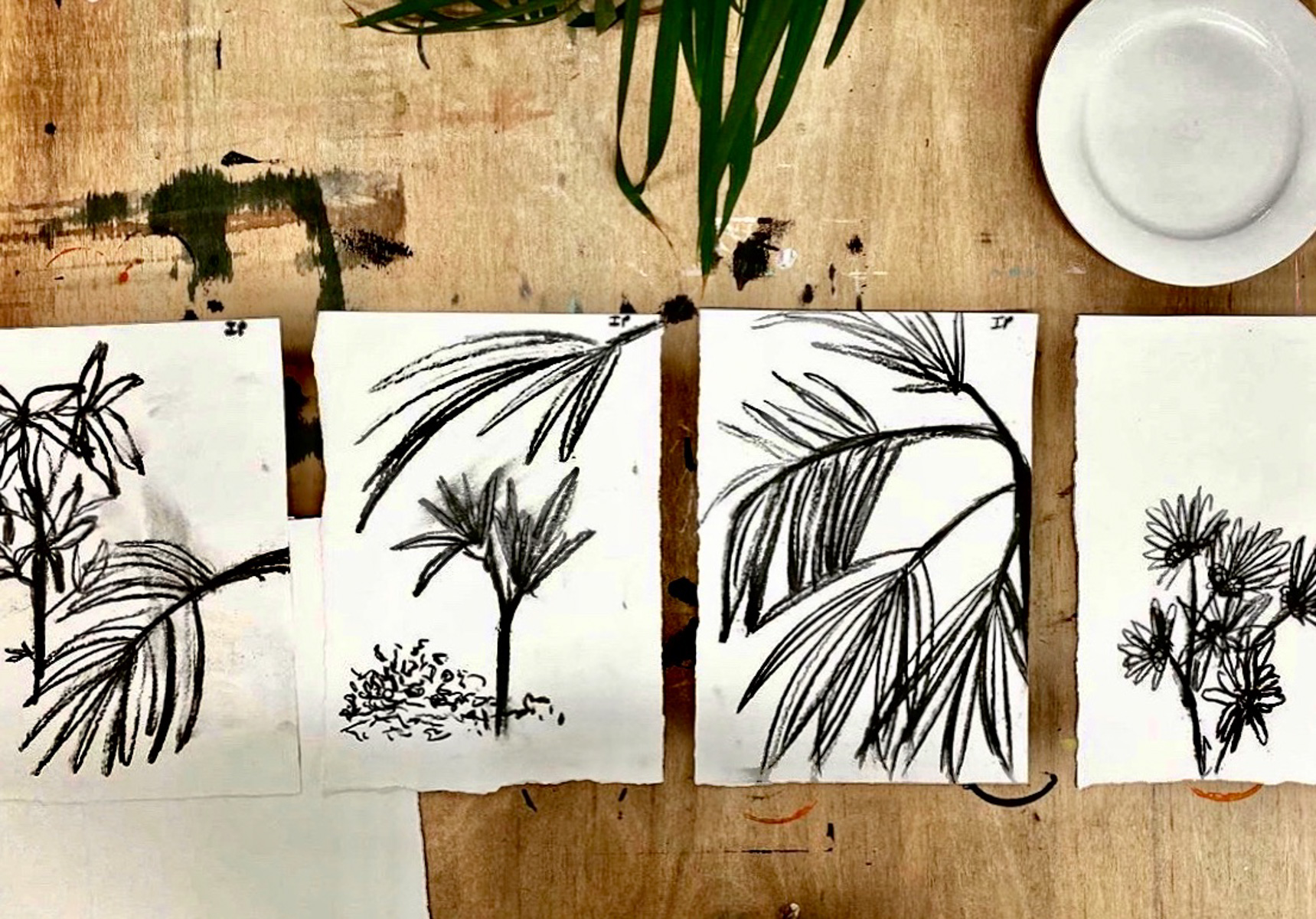 Charcoal Japanese inspired drawings