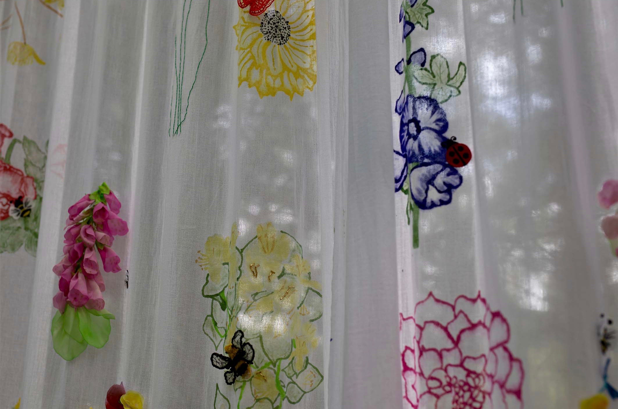 Whimsical Cottage Garden Drapes showing the translucent element of the drapes