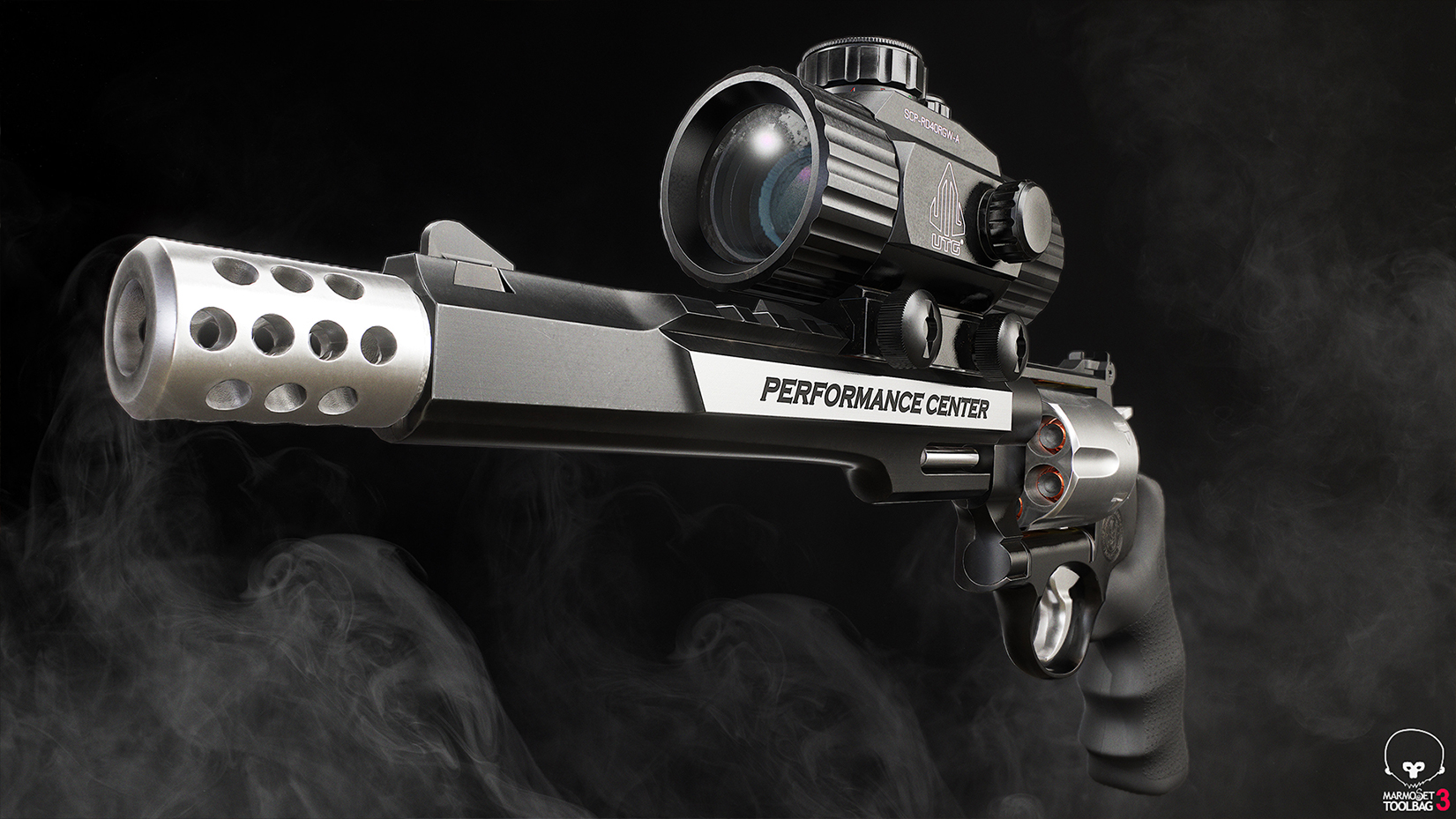 Shot rendered in Marmoset Toolbag, compositing in Photoshop, gun creation in Blender, ZBrush, Substance Painter