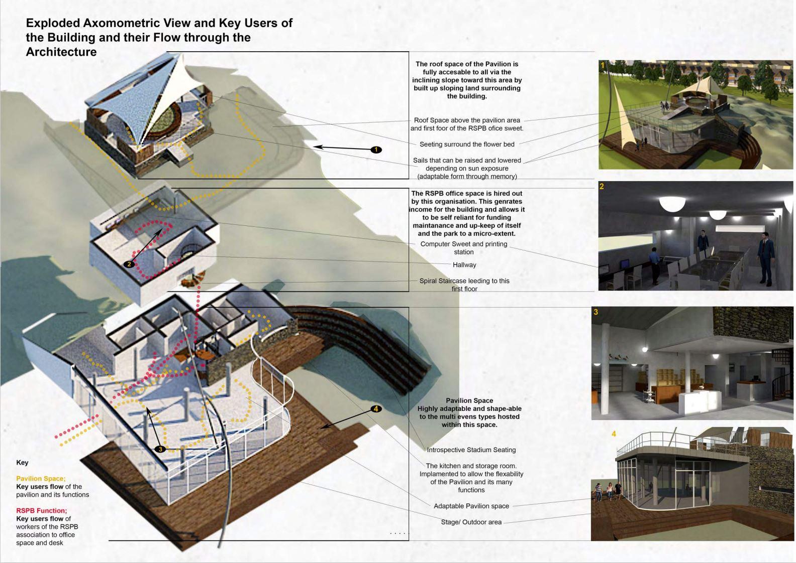 Exploded Axonometric Study - The Pavilion