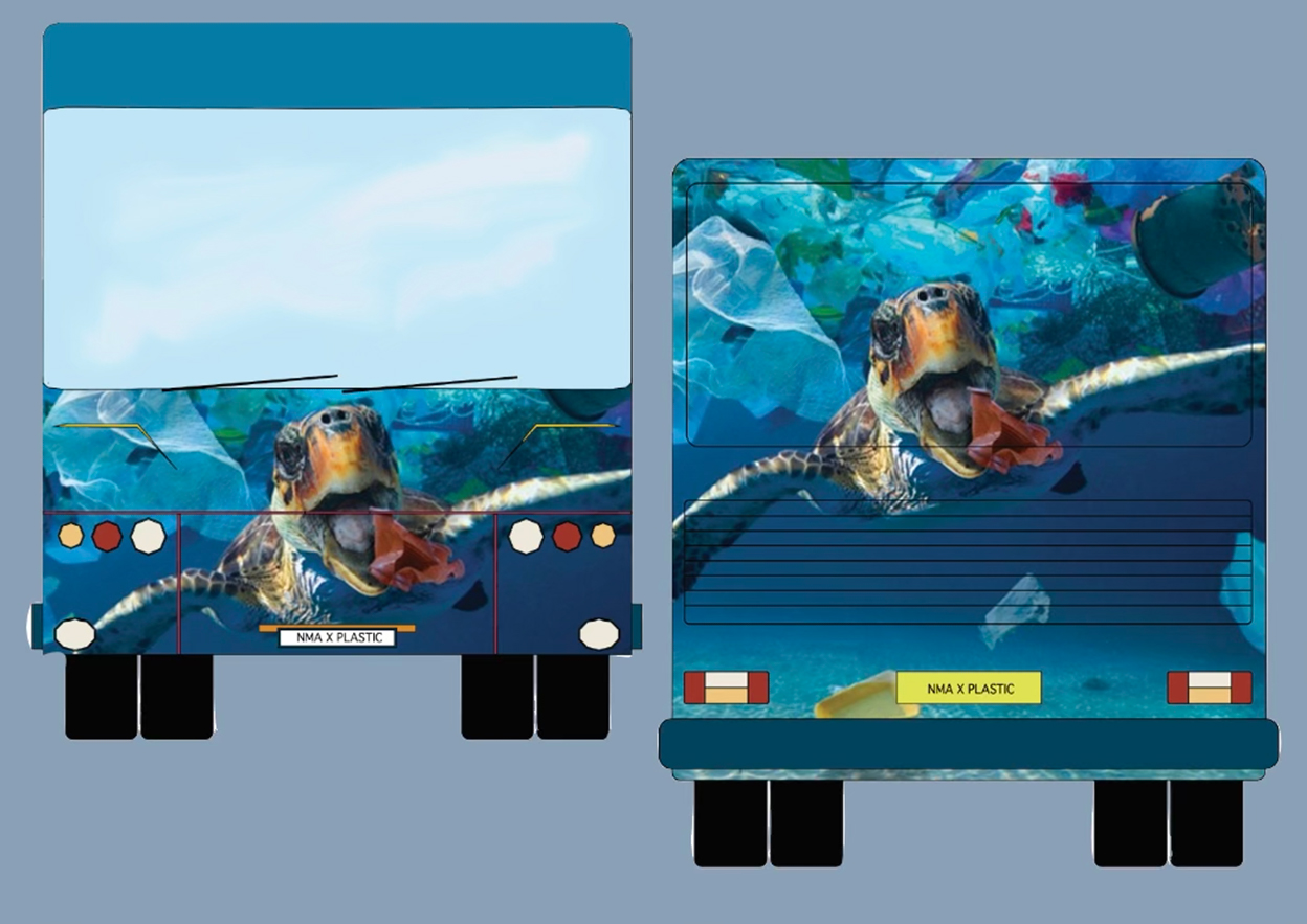 Swimming In Plastic: The Reality - Front and Rear Visuals of Outside of Bus