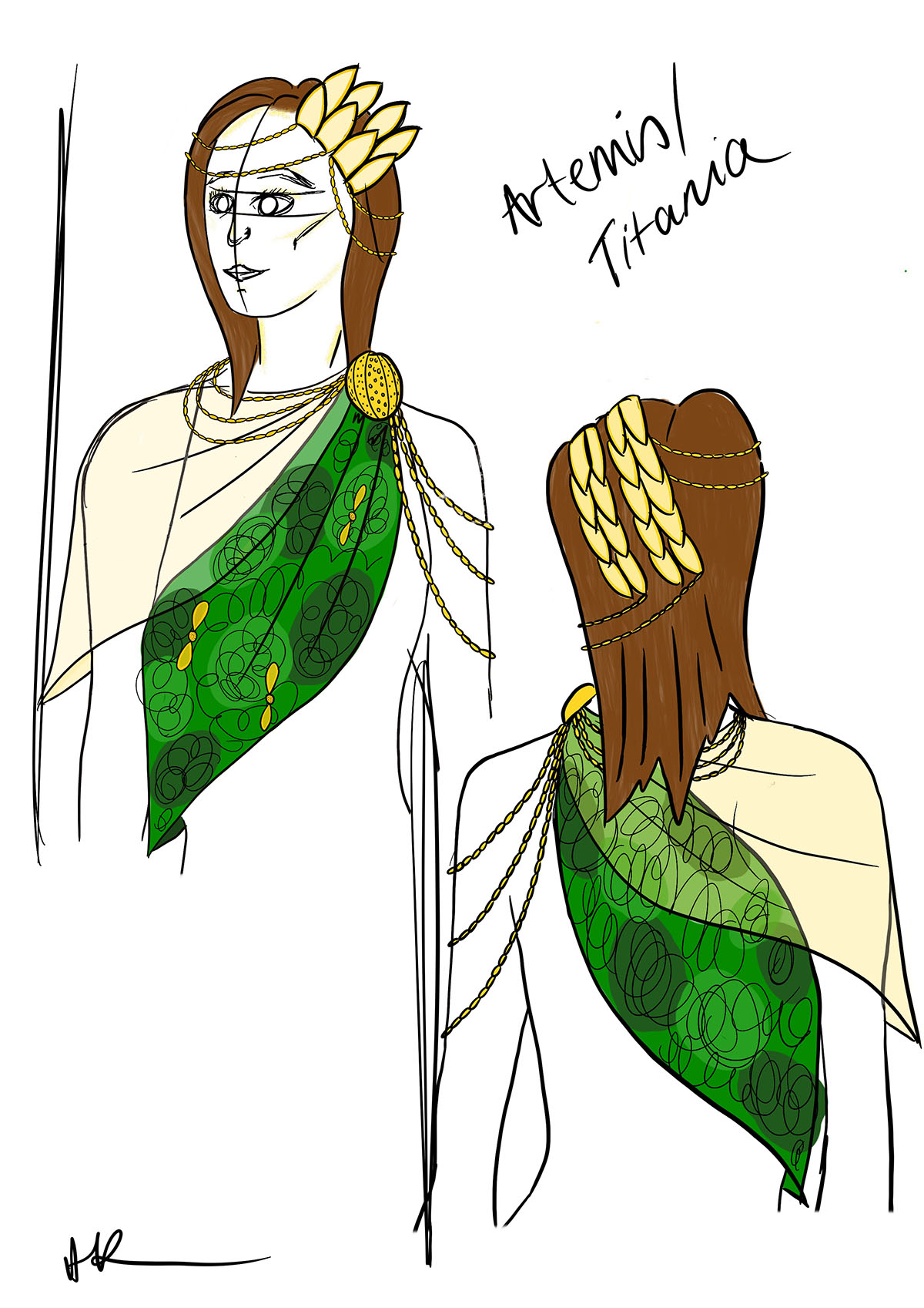 Design for Artemis in my own adaptation of Shakespeare's A Midsummer Night's Dream