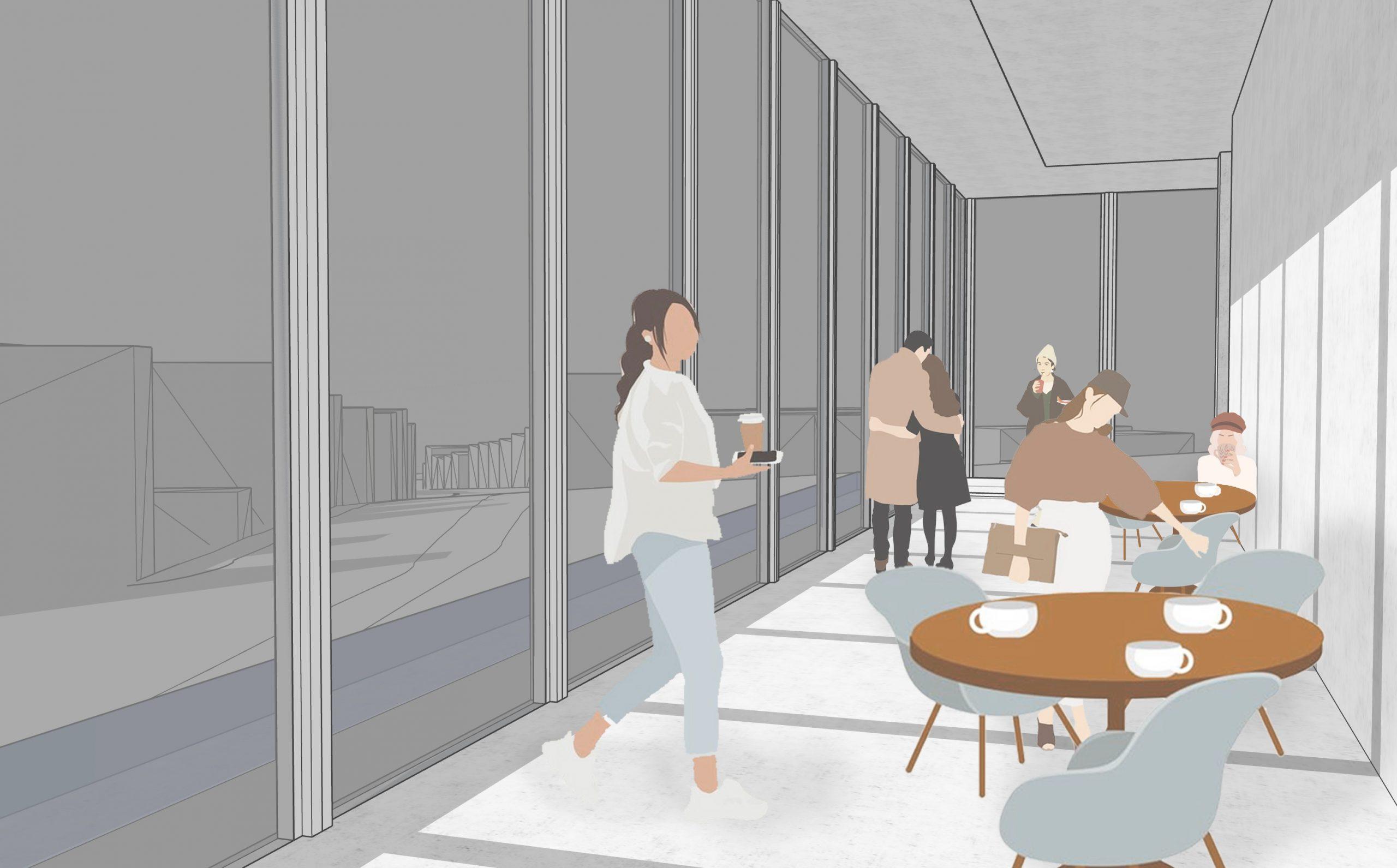 Exhibition Center Interior - Cafe Space
