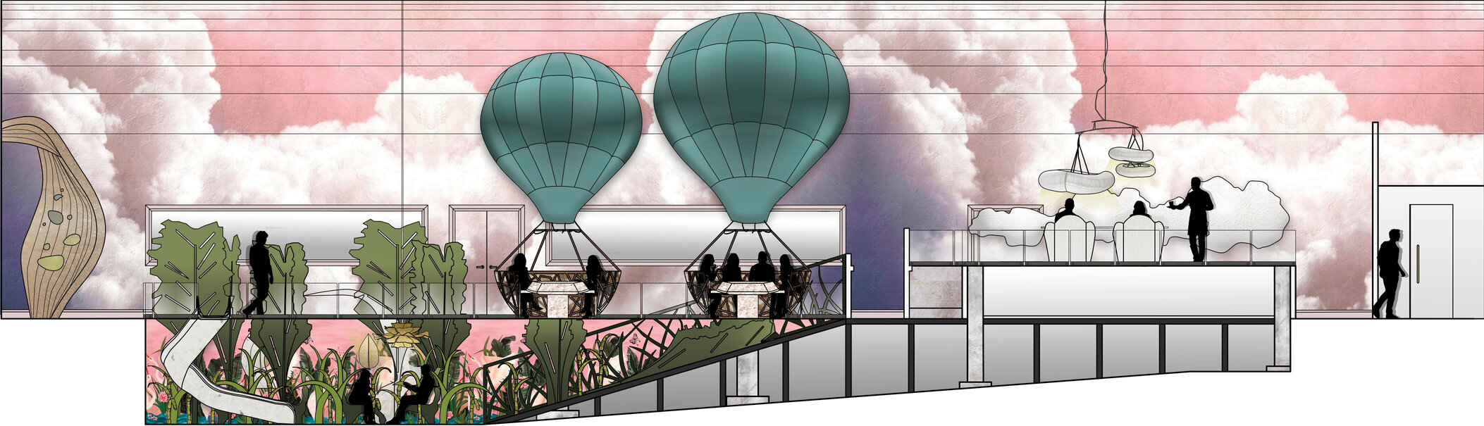 The Looking Glass, Main Space Render, Set 1 'A Change of Air', Set 3 'The Boroughgroves' & Set 4 'Off to the Land of Nod'